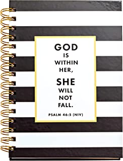JennyM | Psalm 46:5 God is Within Her, She Will Not Fall, Black & White Stripe Christian Notebook, Journal, Bible Study, Guide, SOAP study, 142 Days of Scripture