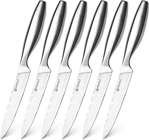 high quality Laguiole 6-Piece Stainless Steel outlet sale Knife Set, Professional Kitchen Cutlery, Serrated Steak wholesale Knives outlet online sale