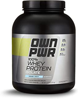 OWN PWR 100% Whey Protein Isolate Powder, Cookies & Cream, 25 G Protein, 4.4 Pound Value Size (65 Servings)