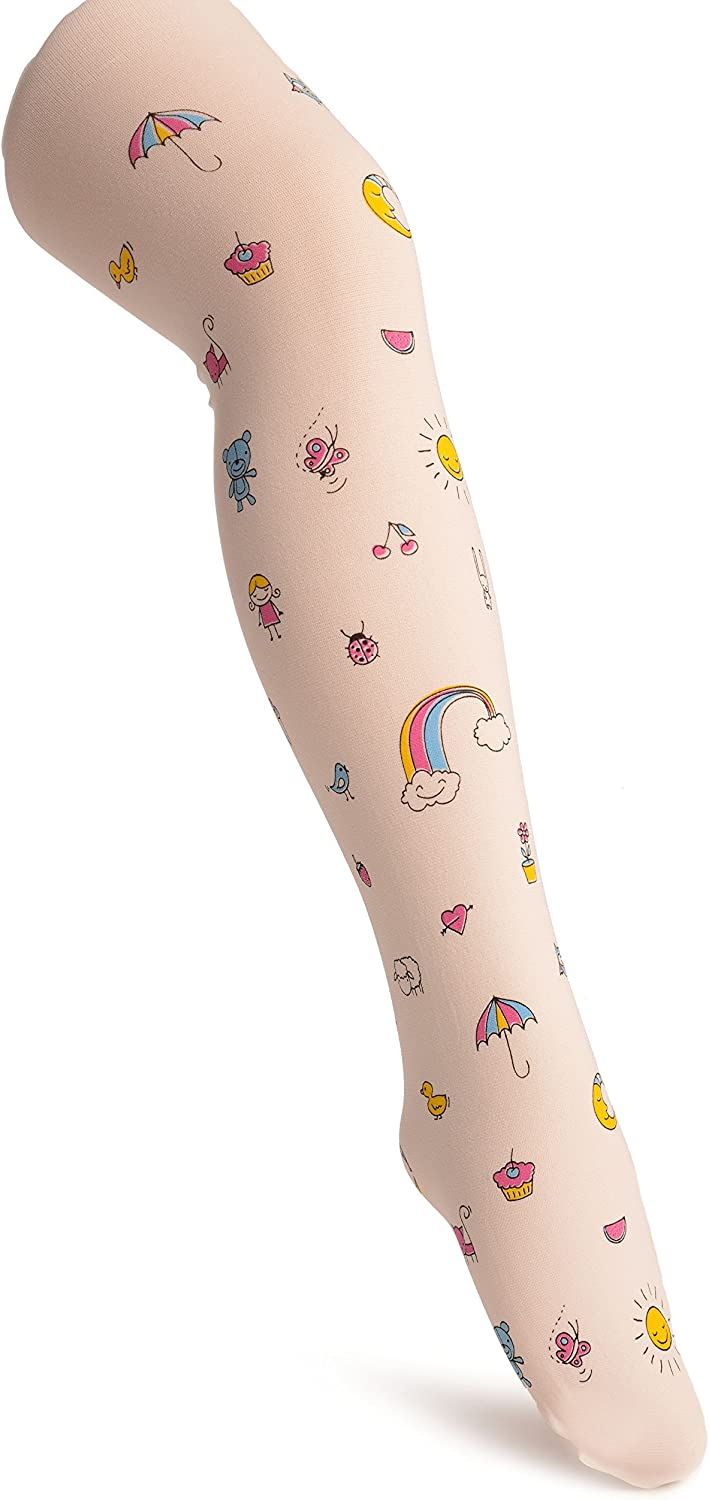 White With Printed Rainbow & Ice Cream - Girls Tights - Kids Tights (Pantyhose)