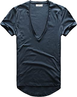Zecmos Mens Deep V Neck T-Shirt Unisex Tshirt Male Vneck Tee Top