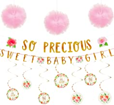 Party City Boho Girl Baby Shower Decorating Supplies, Include 12 Swirl Decorations, 6 Pink Pom Poms, and Letter Banners