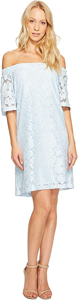 Donna Morgan Off the Shoulder Short Sleeve Knit Lace Shift Dress