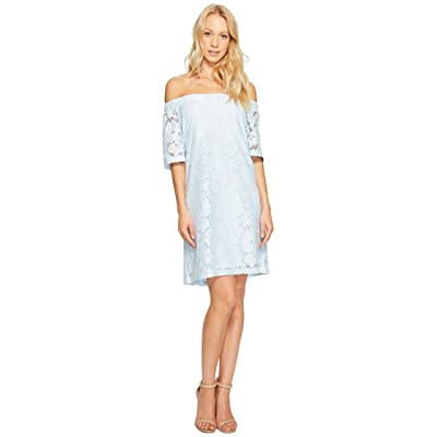 Donna Morgan Off the Shoulder Short Sleeve Knit Lace Shift Dress (Blue Ice) Women