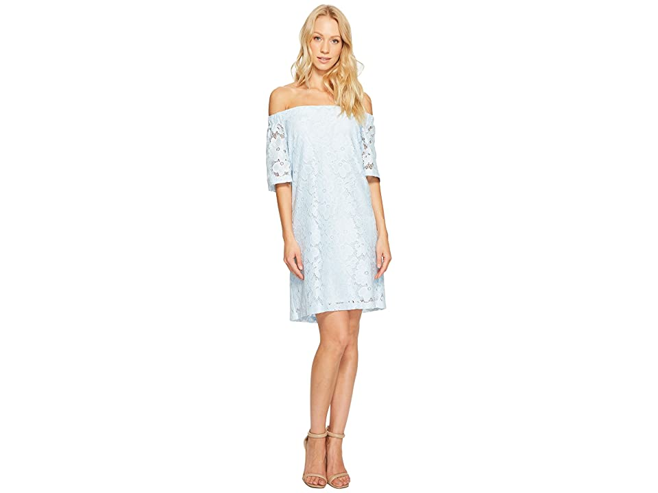 Donna Morgan Off the Shoulder Short Sleeve Knit Lace Shift Dress (Blue Ice) Women