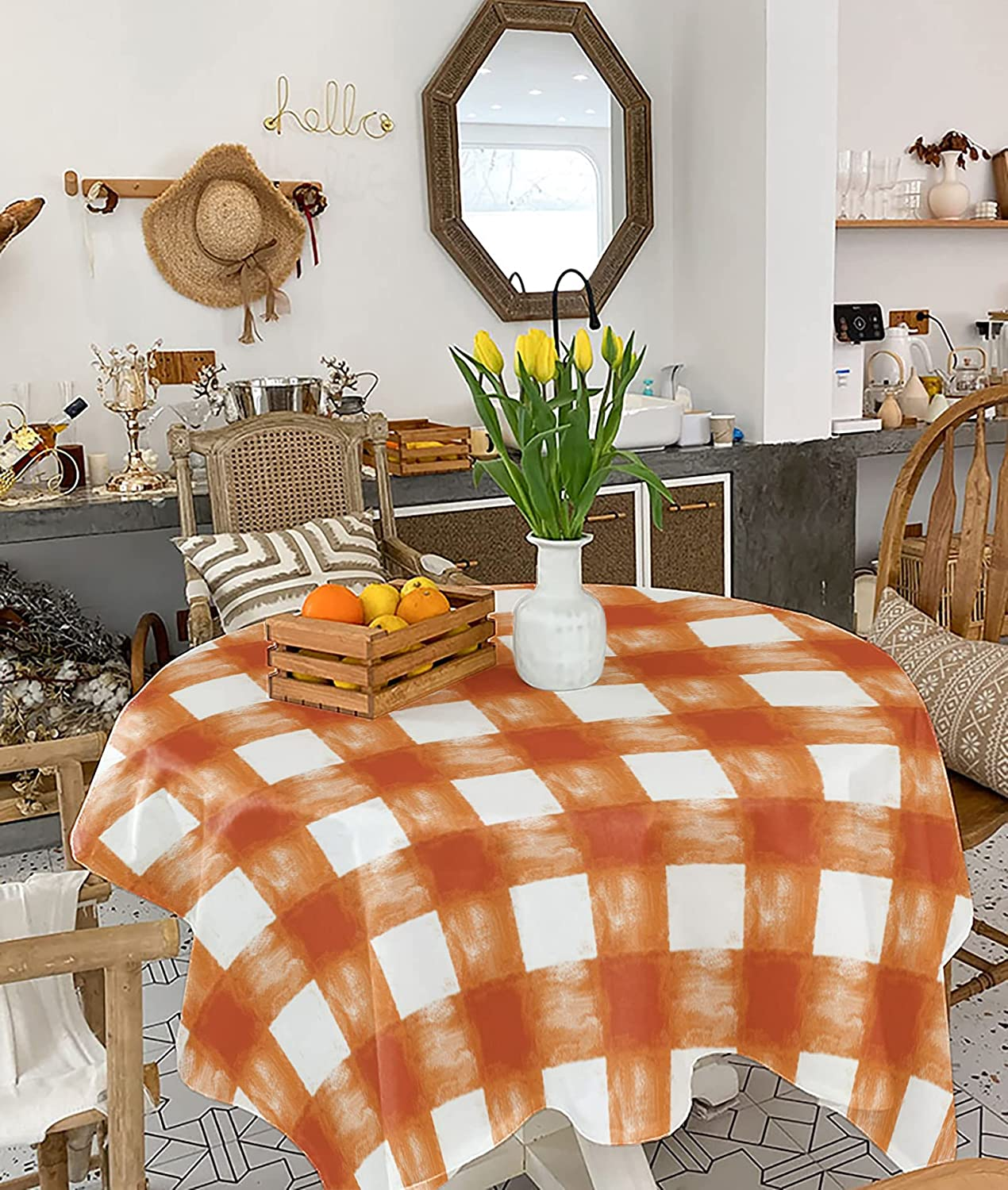 Square Tablecloth 54x54 inch Cotton Over item handling Rustic Max 80% OFF Heatproof Waterproof