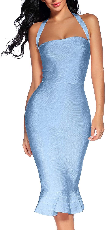 houstil Women's V Neck Halter Fishtail Bandage Bodycon Dress Party