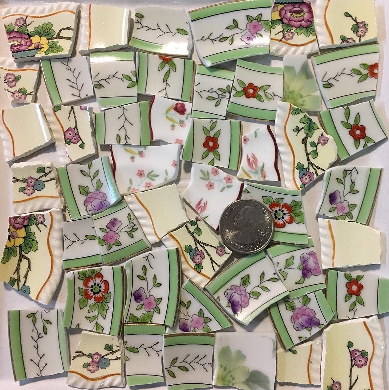 Mosaic Art & Crafts Supply ~ Pale Blue & Green Floral Rim Tiles (B936)