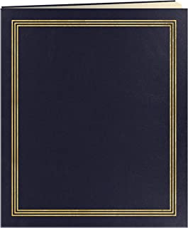 Jumbo 11.75x14 Beige Page Scrapbook 100 Pages (50 Sheets), Navy Blue