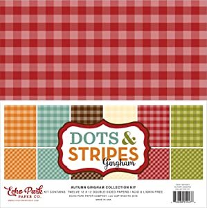 Echo Park Paper Company Autumn Gingham Collection Kit Paper, Orange, Yellow, Blue, Brown, Tan, Red