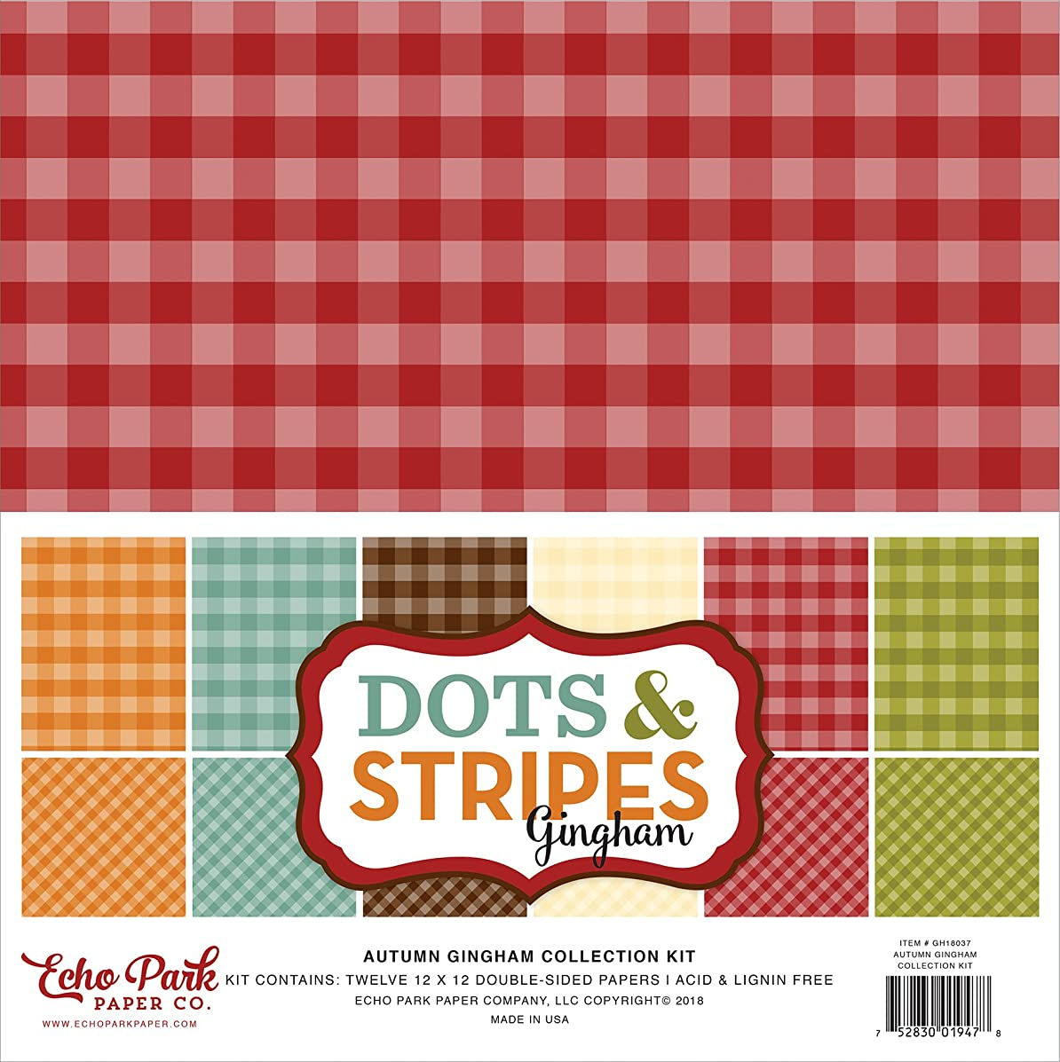 Echo Park Paper Company GH18037 Autumn Gingham Collection Kit Paper, Orange, Yellow, Blue, Brown, Tan, Red