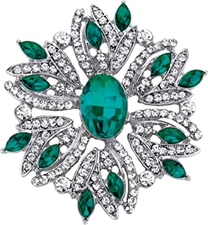 Palm Beach Jewelry Silvertone Marquise Shaped Green Crystal Holiday Snowflake Pin