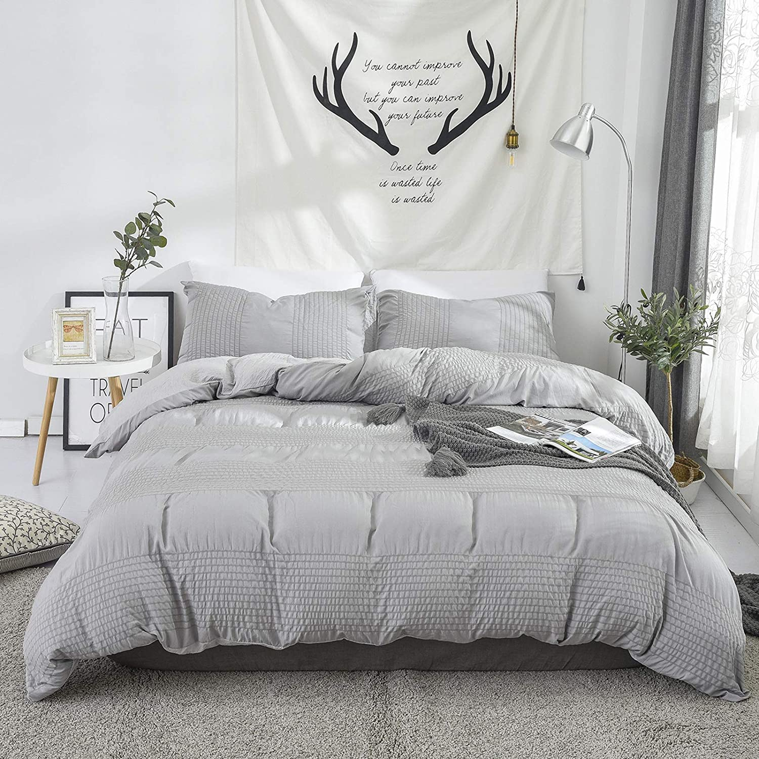 XingShow Max 67% OFF Stripe Duvet Cover Set Queen Solid Wash Cotto Japan's largest assortment Gray Soft
