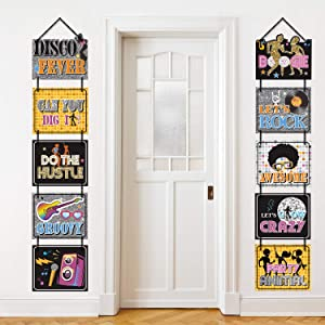 70s Disco Party Decorations 1970s Disco Fever Banner Signs Hanging Home Door Decor Cutouts Let's Boogie Party Supplies