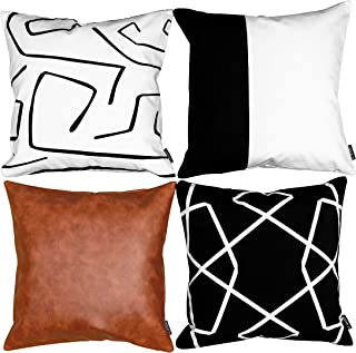 ILConcepts Decorative Throw Pillow Covers 18x18, for Couch, Sofa or Bed, 3 100% Cotton Pillow Cases & Luxury Faux Leather Cover, This Set Will Transform Your Pillows to Modern Design Decor Elements