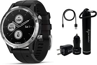 Garmin Fenix 5 Plus Premium Multisport GPS Watch with Maps, Music and Contactless Payments and Wearable4U Ultimate Power Pack Bundle (Silver with Black Band)