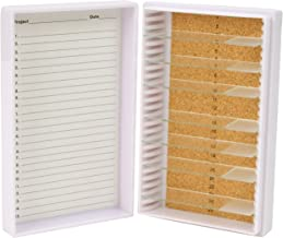 "Heathrow Scientific HD15989E White Cork Lined 25 Place Microscope Slide Box, 5.5"" Length x 3.5"" Width x 1.24"" Height"