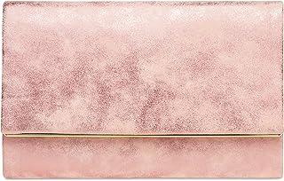 Caspar TA381 Damen elegante Clutch Tasche Abendtasche mit langer Kette