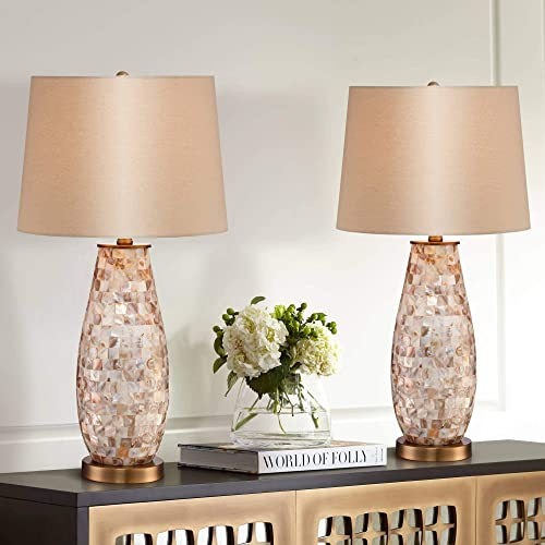 Kylie Country Cottage Coastal Table Lamps Set of 2 Mother of Pearl Tile Vase Beige Fabric Drum Shade Decor for Living Room Bedroom House Bedside Nightstand Home Office Family - Regency Hill