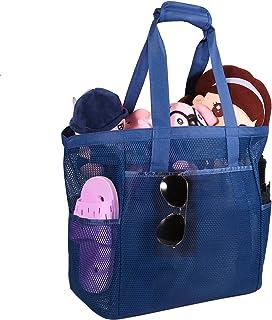 ROSA&ROSA Mesh Strandtasche Extra Große Faltbare Einkaufstaschen für Familie Urlaub Baden Shopper Reise Picknick (Blau)