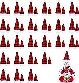 50 Pieces Mini Christmas Hat, 2 Sizes Mini Buffalo Plaid Santa Hats, Mini Christmas Doll Crafts Hat for Christmas Tree Orn...