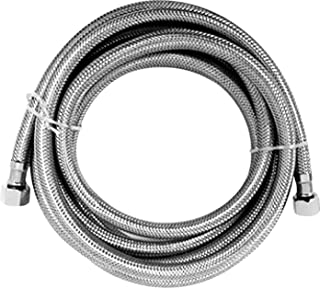 Luxe Bidet Hot Water Metal Braided Hose with 3/8 and 1/4 ends (6 ft)