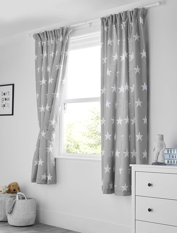 Bloomsbury Mill - Grey & White Stars - Kids Lined Curtain Pair with Tiebacks - 66 x 72 inch (168cm x 183cm) Grey White Stars