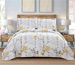 3 Pcs Full/Queen Size Flower Bedding Quilt Set Lightweight Summer Bedspread Floral Daybed Cover Yellow White Plant Vintage Garden Coverlet Blanket,90x90 with 2 Standard Pillow Shams