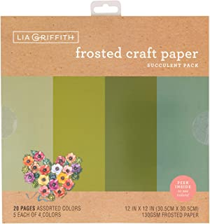 """Lia Griffith Frosted Craft Paper, 12"""" x 12"""", Succulent Pack 20 Sheets"""