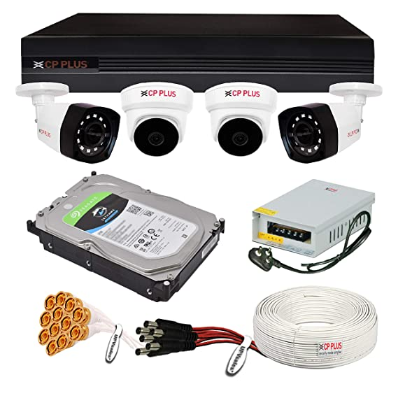 CP Plus 5MP, H.265+, 4Camera Combo Kit with (4Ch DVR, 2 Dome 2 Bullet Cameras, 1TB Hard Drive, Power Supply, 90Mtr Cable, Audio Mic and Connectors) 5 MegaPixel CCTV Surveillance Security Camera Set