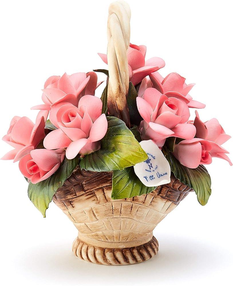 Soprammobile portafortuna cestino di rose , in porcellana ,  fatto a mano