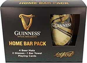 Official Guinness Home Bar Pack With Mats, Glasses, Towel & Cards