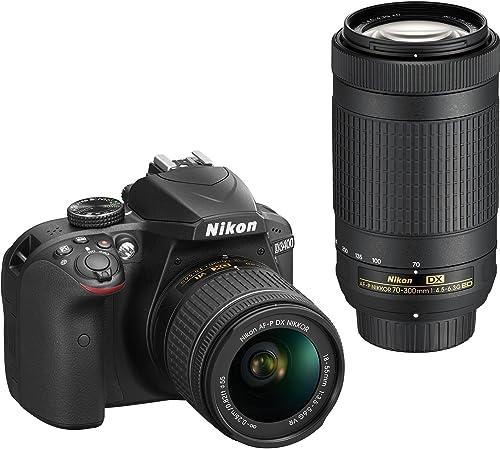 Nikon D3400 Digital Camera Kit (Black) with Lens AF-P DX Nikkor 18-55mm, 70-300mm f/4.5-6.3G ED VR Lens, 16 GB Class 10 SD Card and DSLR Bag product image