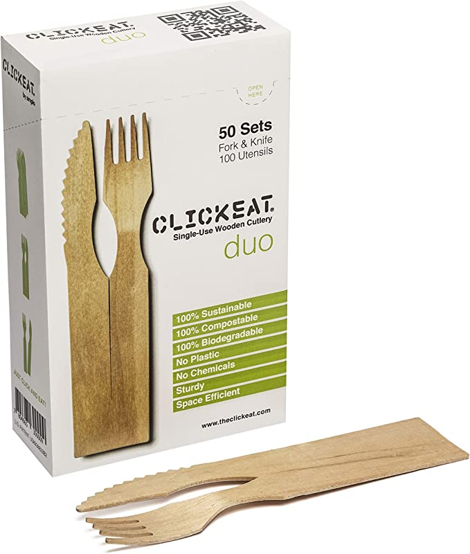 Clickeat Duo 50 Set Box Fork Knife 100 Utensils Wooden Cutlery Set Strong And Sturdy 100 Compostable Biodegradable And Sustainable Stackable And Easy To Store