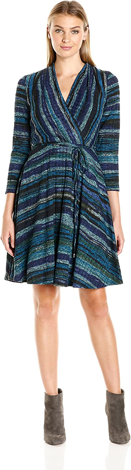 Sandra Darren Women's 3 4 Sleeve VNeck Faux Wrap Knit Dress