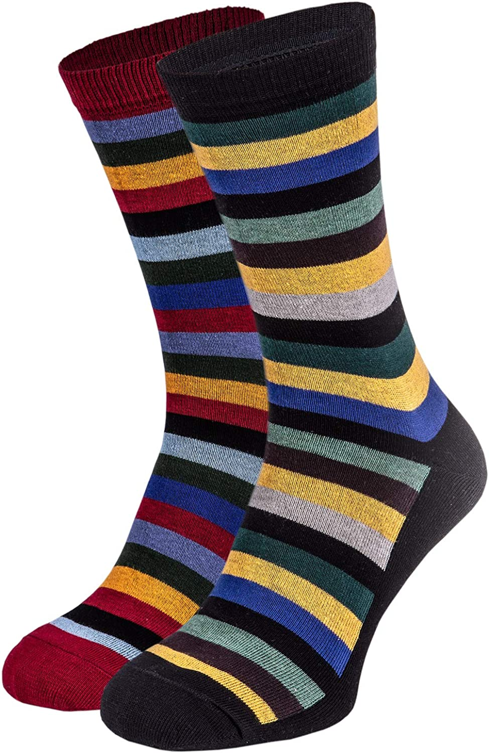 Men's Cotton Colorful Holiday Striped Crew Socks