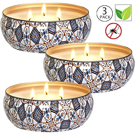 OFUN Citronella Candles Outdoors Mosquito Insect Repellent Candles Indoor and Outdoors for Garden Picnic 3 Pack Large Citronella Scented Candles 300 Hours Burn Camping Van Gogh Oil Painting Style