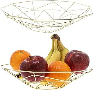 Juvale Kitchen Wire Fruit Basket (2 Piece Set), Metallic Gold