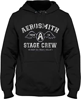 Liquid Blue Men's Aerosmith Stage Crew 1974 Pullover Graphic Hooded Sweatshirt, Black, X-Large