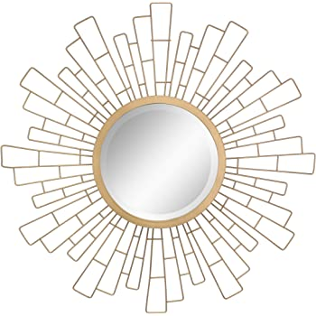 Stonebriar Espejo Decorativo Redondo Dorado Antiguo de 23 Pulgadas de Metal geométrico para Colgar en la Pared, decoración Bohemia Moderna para la Sala de Estar, baño, recámara y Entrada