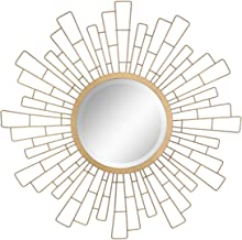 "Stonebriar Round Decorative Antique Gold 23"" Geometric Metal Sunburst Hanging Mirror for Wall, Modern Boho Decor for The L..."