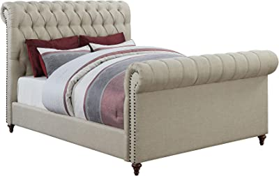 "Coaster Home Furnishings Upholstered Bed, 66""W x 95""D x 56""H, Beige"