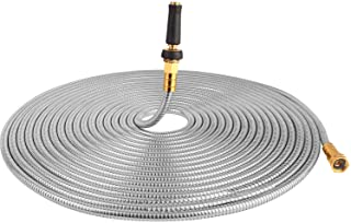TOUCH-RICH 304 Stainless Steel Garden Hose, Lightweight Metal Hose with Free Nozzle,..