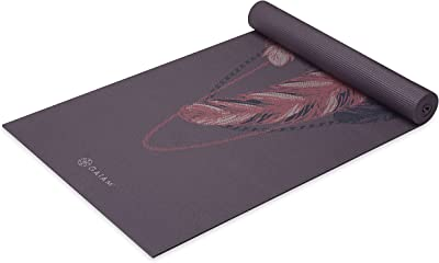 Gaiam Yoga Mat Premium Print Extra Thick Non Slip Exercise & Fitness Mat for All Types of Yoga, Pilates & Floor Workouts, Lilac Feathers, 6mm