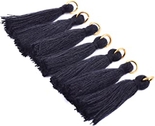 KONMAY 50PCS 1.4''(3.5cm) Soft Handmade Silky Tiny Craft Tassels with Golden Jump Ring for DIY Projects (Black)