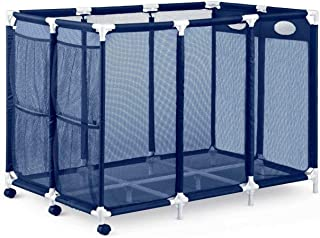 Rolling Pool Storage Bin - XX-Large - Pool And Ball Storage Organizer With Nylon Mesh Basket - Holds Beach Towels, Toys And Floatation Devices - New Upgraded Summer 2019 Design