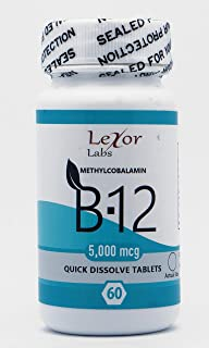 Lexor Labs Methylcobalamin - Vitamin B12 5000 Mcg Quick Dissolve Tablets, 60Count - Vitamin Supplements - Boosts Metabolism, Supports Healthy Nervous System