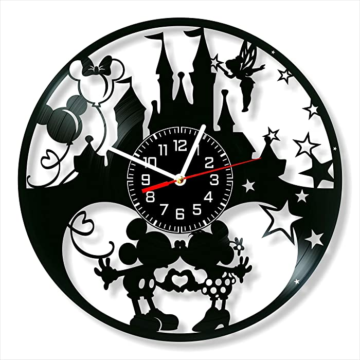 Mickey and Minnie Vinyl Clock, Mickey and Minnie Wall Clock 12 inch (30 cm), Original Gifts for Lovers Mickey and Minnie, The Best Home Decorations, Unique Art Decor, Original Idea for Home Decor