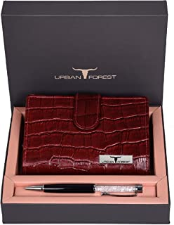 Urban Forest Timmy Dark Red Croco Print Leather Wallet & Pen Combo Gift Set for Women