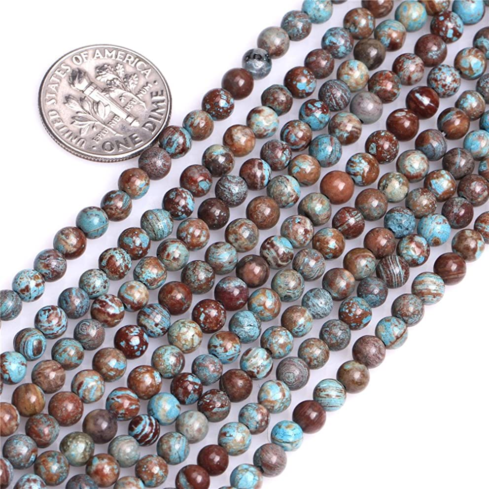 Dyed Round Sea Sediment Jasper Gemstone Blue Jewelry Making Loose Beads 15